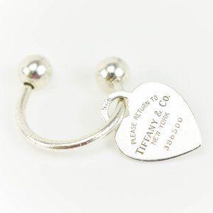TIFFANY & CO Sterling Silver Heart Tag Key Ring zj